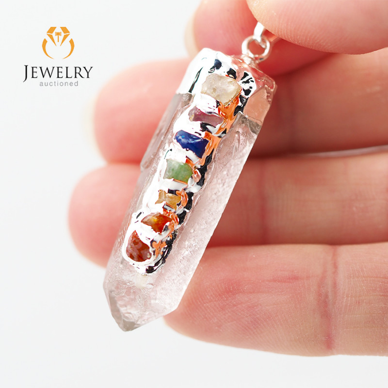 Terminated Point Crystal 7 Chakra Pendant BR 210