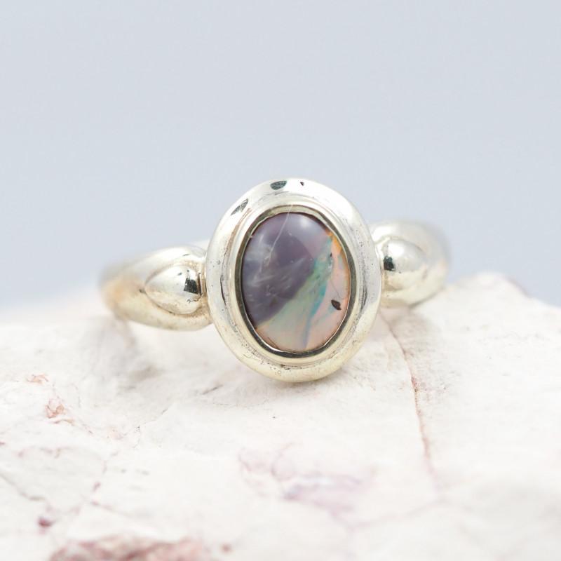 Australian solid Opal Silver Ring  OPJ 2273