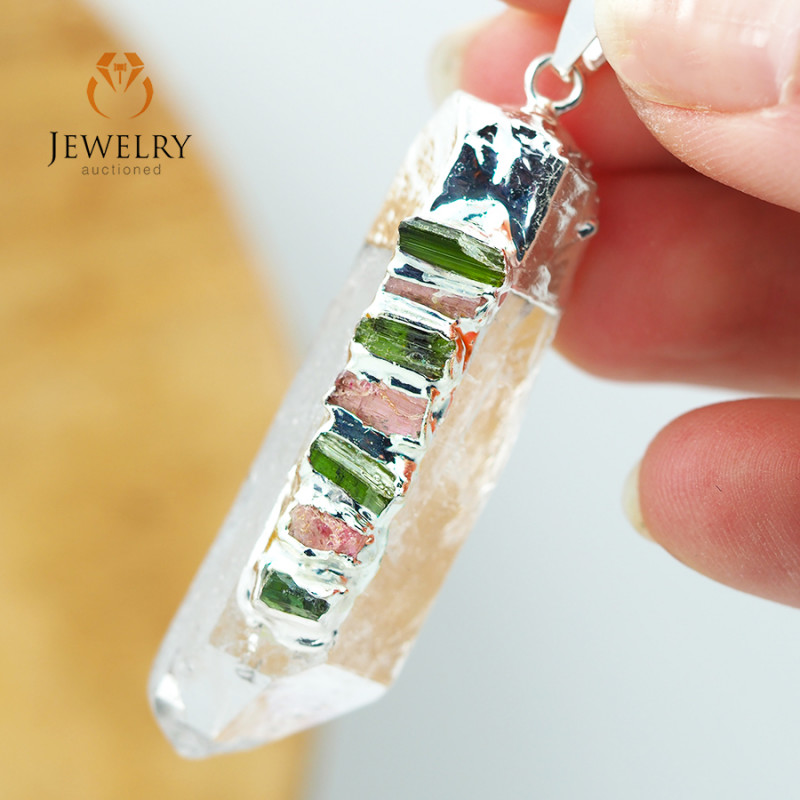 Terminated Point Crystal 7 Chakra Pendant BR 219