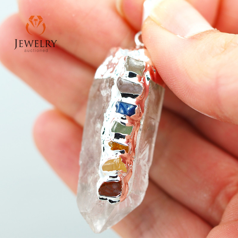 Terminated Point Crystal 7 Chakra Pendant BR 225
