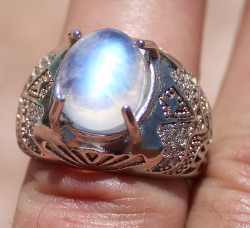 Moonstone 6.28ct Rhodium Finish Solid 925 Sterling Silver Ring,Natural
