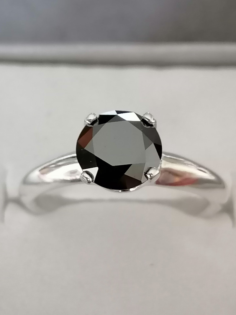 Black Diamond Solitaire Ring 1.53cts