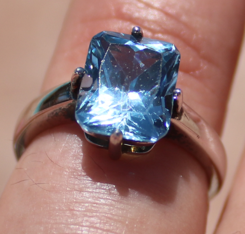 Blue Topaz 5.70ct Rhodium Finish Solid 925 Sterling Silver Ring