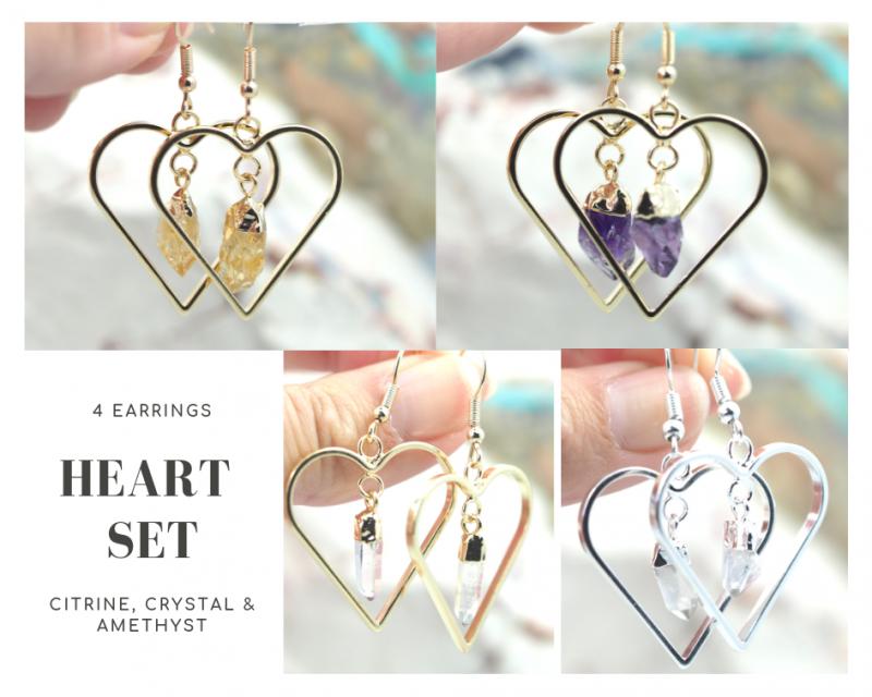 Four Lovers beautiful gemstone Heart shape earrings Set BR170