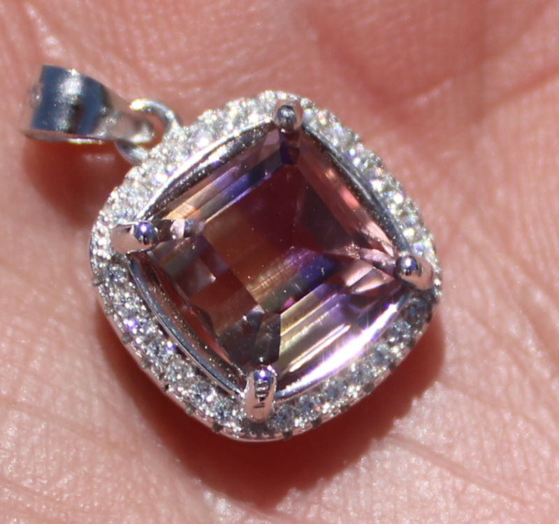 Ametrine 3.40ct White Gold Finish Solid 925 Sterling Silver Pendant
