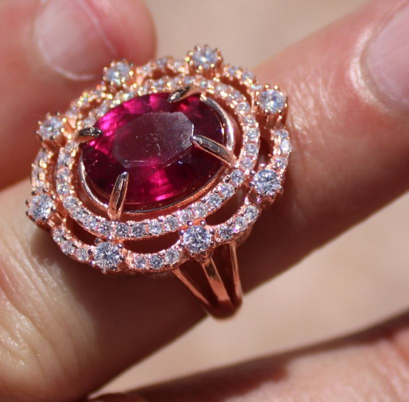 Rubellite 6.63ct Rose Gold Finish Solid 925 Sterling Silver Ring,Natural,Un