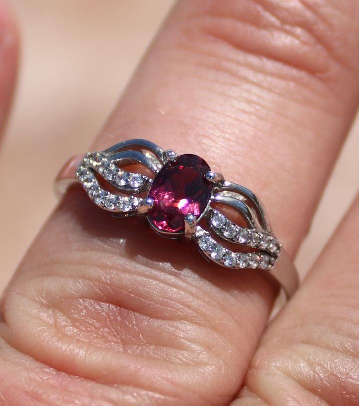 Umbalite Garnet .65ct Rhodium Finish Solid 925 Sterling Silver Ring