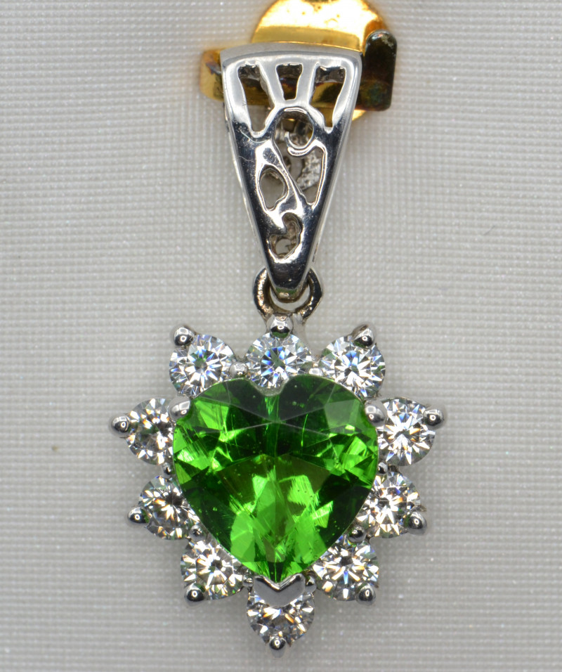 Created Moldavite, CZ  and Silver Pendant