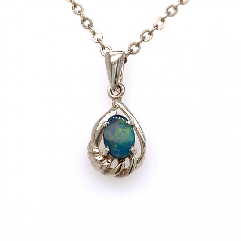 Australian inlay Opal Silver Pendant OPJ 2369
