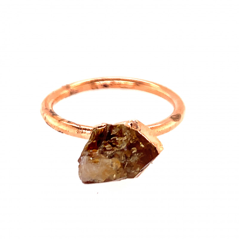 Raw Beautiful terminated Citrine Copper Ring OPJ 2390