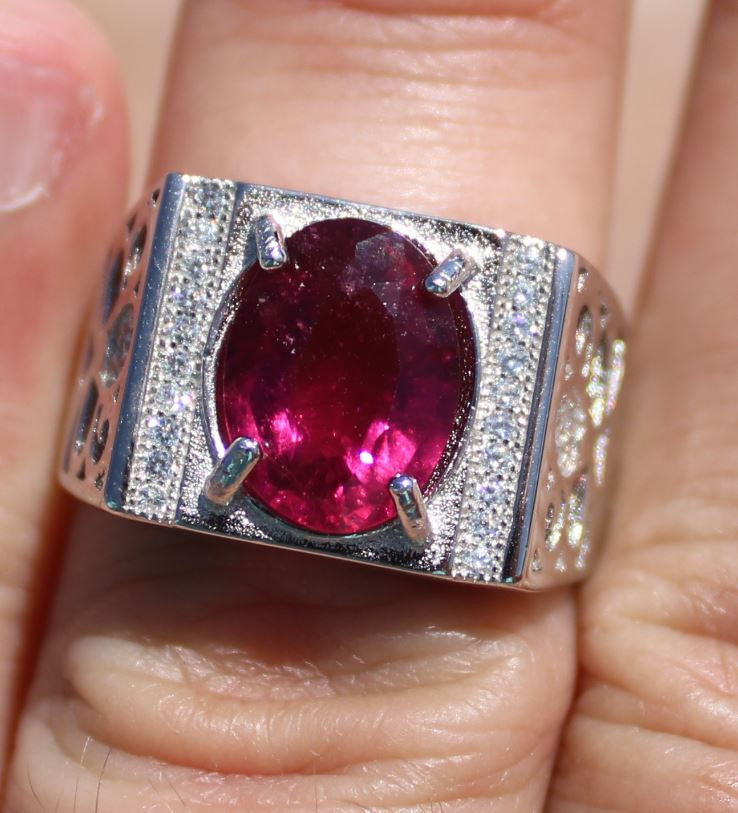 Rubellite or Red Tourmaline 3.55ct White Gold Finish Solid 925 Sterling Sil