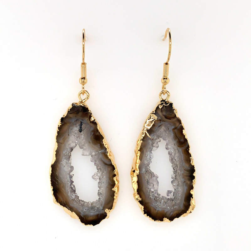 Attractive Druzy earrings gold  ,Sheppard hooks BR 241