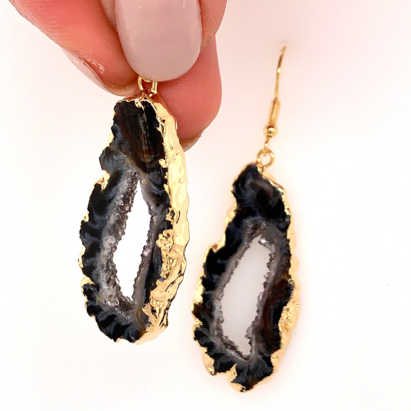 Attractive Druzy earrings gold ,Sheppard hooks BR 242