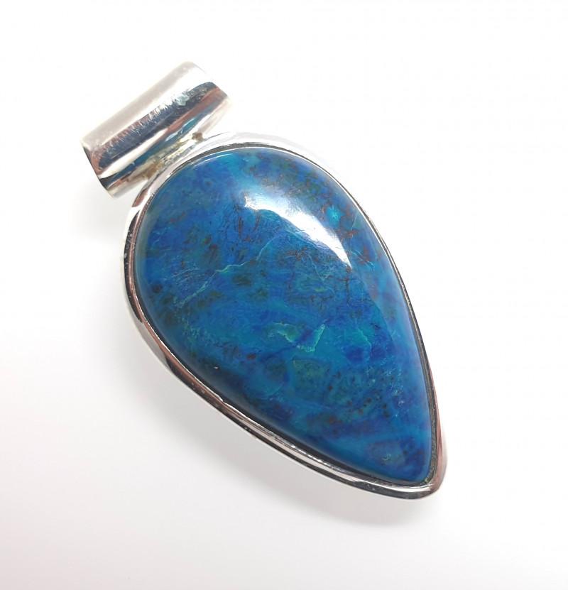 Chrysocolla Pendant in 925 Silver (RJ33)