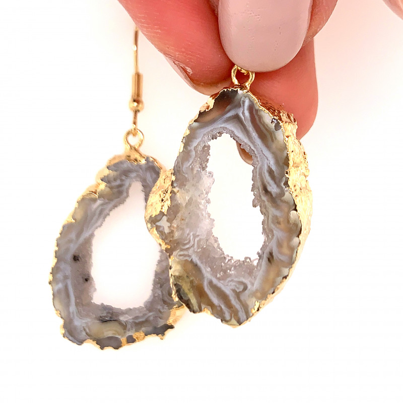 Attractive Druzy earrings gold ,Sheppard hooks BR 244