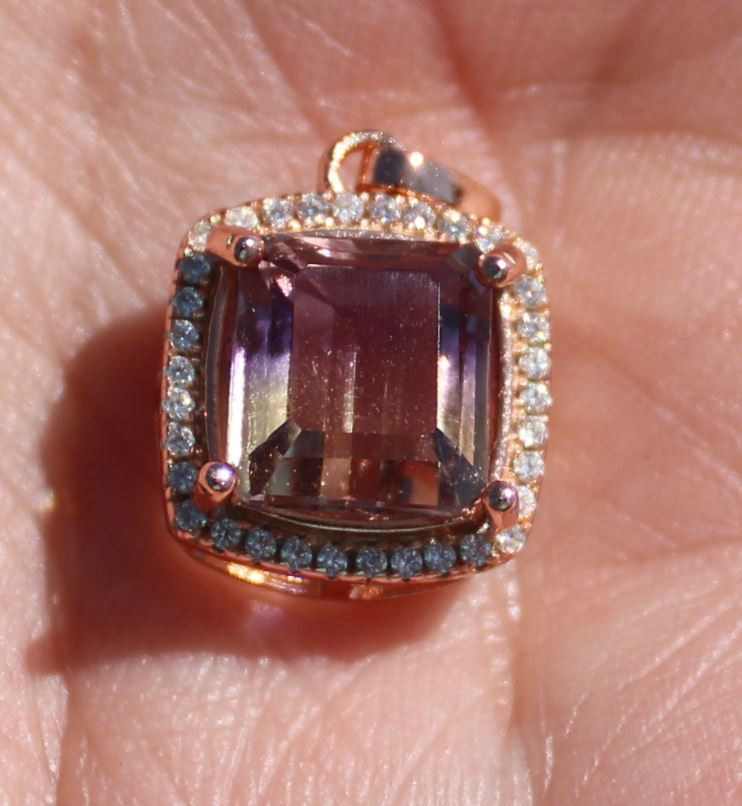 Ametrine 3.85ct Rose Gold Finish Solid 925 Sterling Silver Pendant,Natural