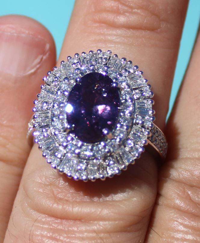 Purple Fancy Sapphire 3.20ct Natural Diamonds 2.05ct, 950 Solid Platinum Co