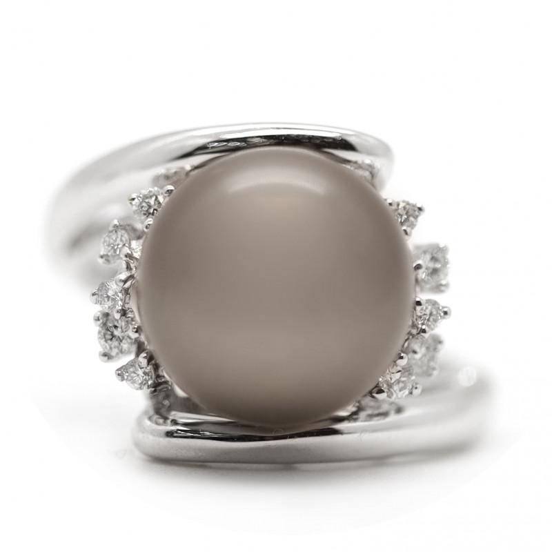 18k South Pacific Salt Black Pearl Ring [JR05]