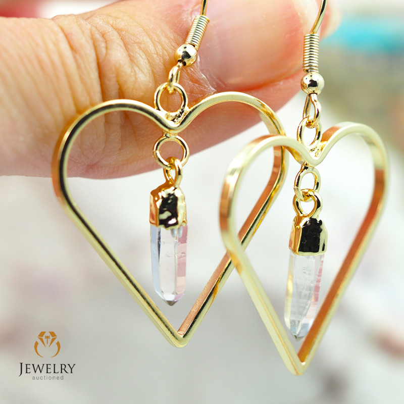 Raw beautiful Crystal Heart shape earrings BR 255