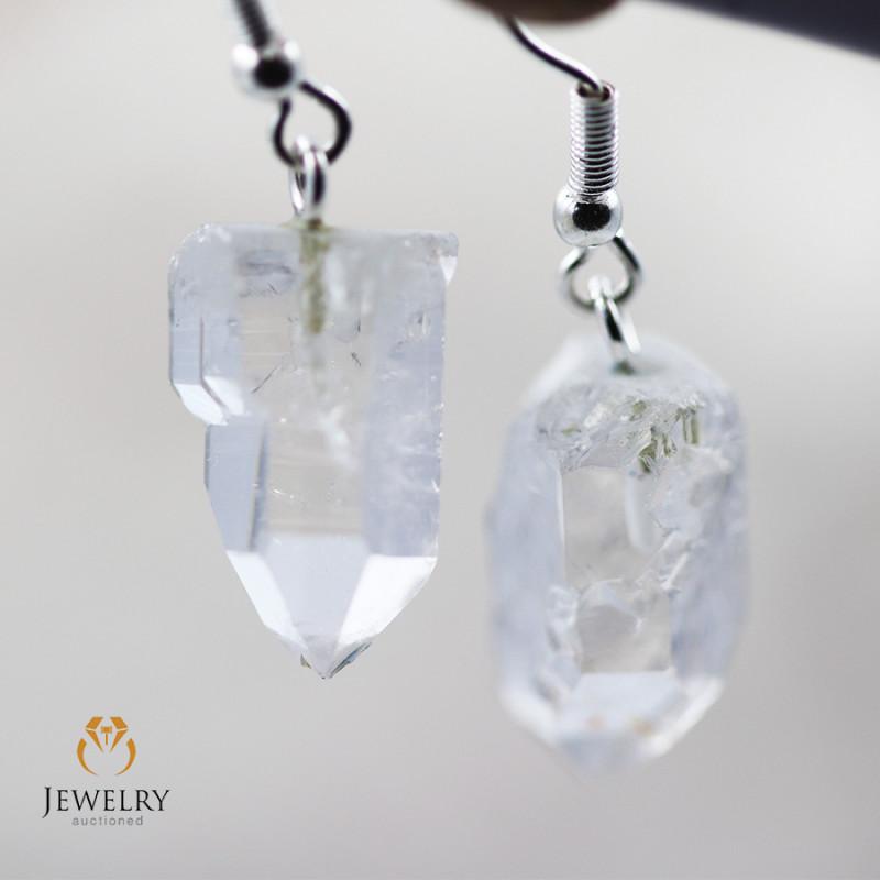Raw Crystal in swing drop silver Earrings BR 258