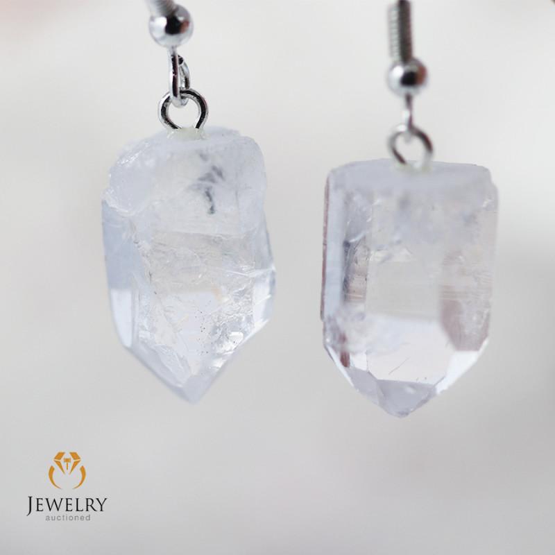 Terminated Crystal in swing drop silver Earrings BR 259