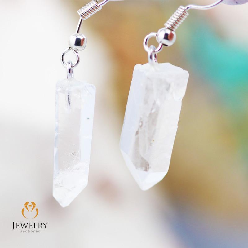 Raw Crystal in swing drop silver Earrings BR 262