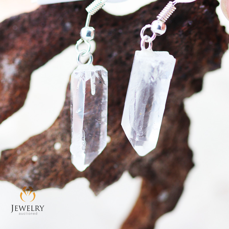 Terminated Crystal in swing drop silver Earrings BR 263
