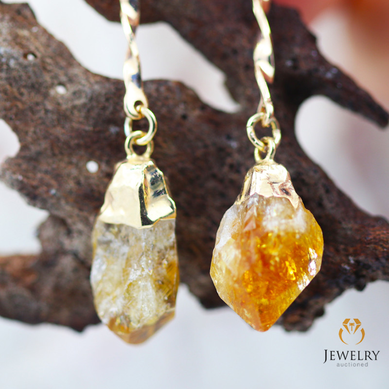 Terminated Point Citrine Gemstone, long Drop Earrings BR 279