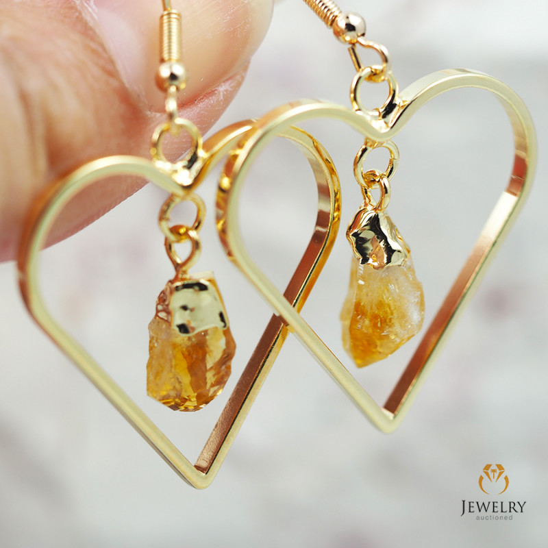 Terminated beautiful Citrine in Heart shape Earrings BR 284