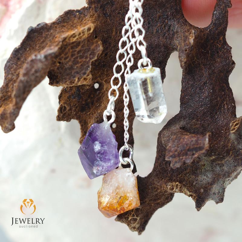 Raw Gemstone swing drop pendant, Amethyst, Citrine, Crystal BR 295
