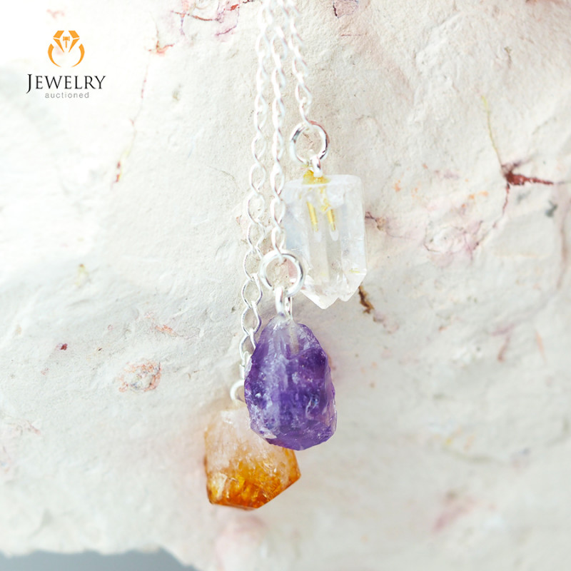 Raw Gemstone swing drop pendant, Amethyst, Citrine, Crystal BR 299