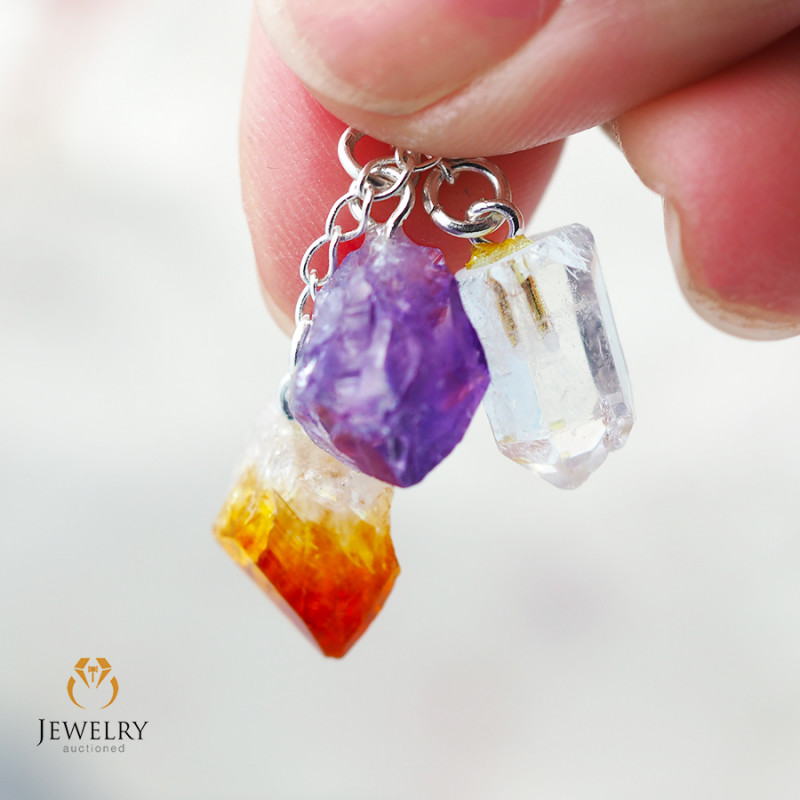 Gemstone swing drop pendant, Amethyst, Citrine, Crystal BR 312