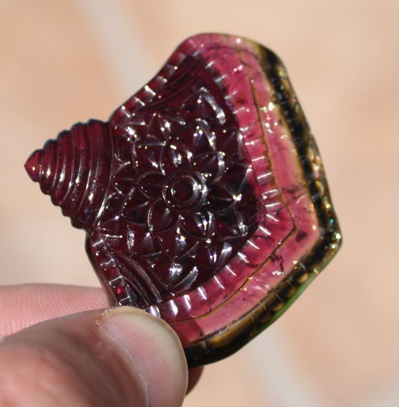 Certified Watermelon Tourmaline 113.80ct Carving
