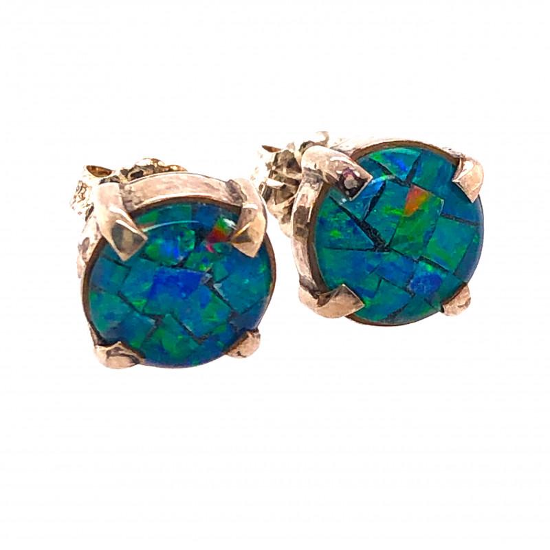 Australian Opal Mosaic triplet Earring Silver OPJ 2418