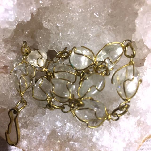 Raw Quartz  Rock Crystal bracelet 27 cm ,hand made   BR 351