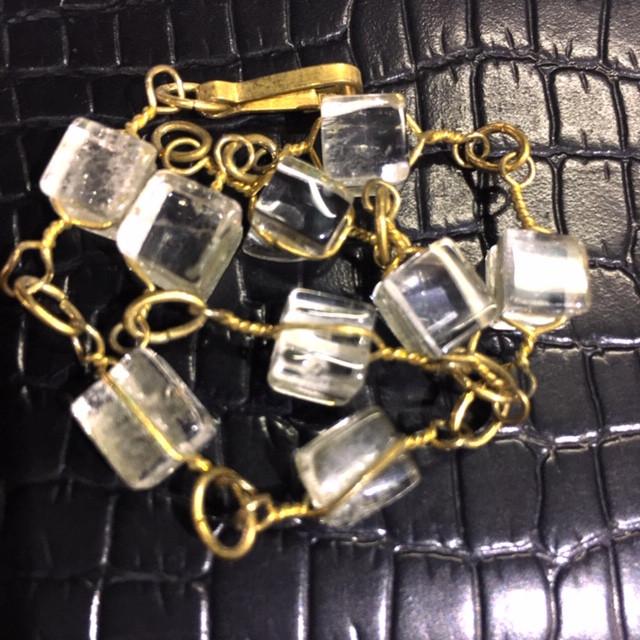 Raw  Sq Quartz  Rock Crystal bracelet,hand made   BR 352