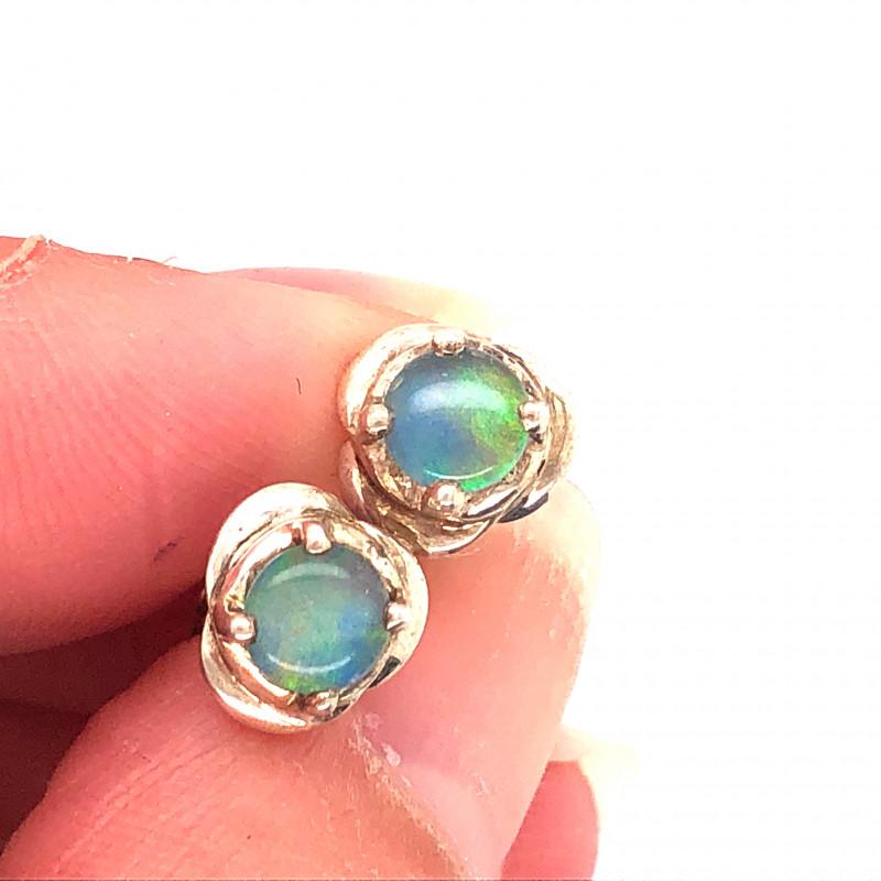 Australian Opal Triplet in Silver Earrings OPJ 2424