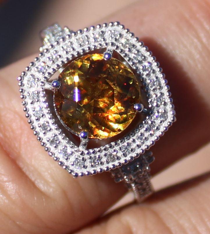 Certified Sphene 3.00ct Natural Diamonds Solid 950 Platinum Ring