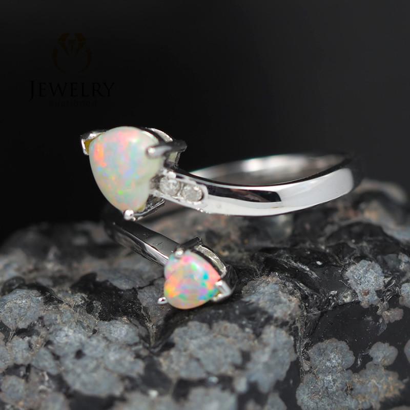 Gem Quality Double Heart 18K White Gold Opal Ring - OPJ 2431