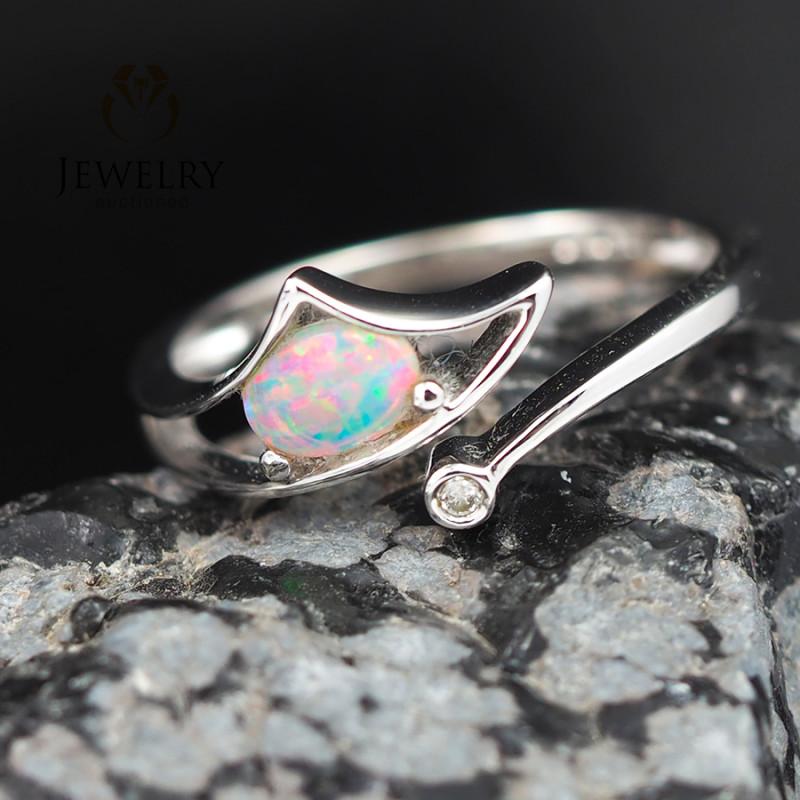 Gem Quality 18K White Gold Opal & Diamond Ring - OPJ 2432
