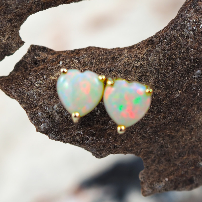 Modern Cute Crystal Heart Opal 14k Yellow Gold Earrings - OPJ 2439