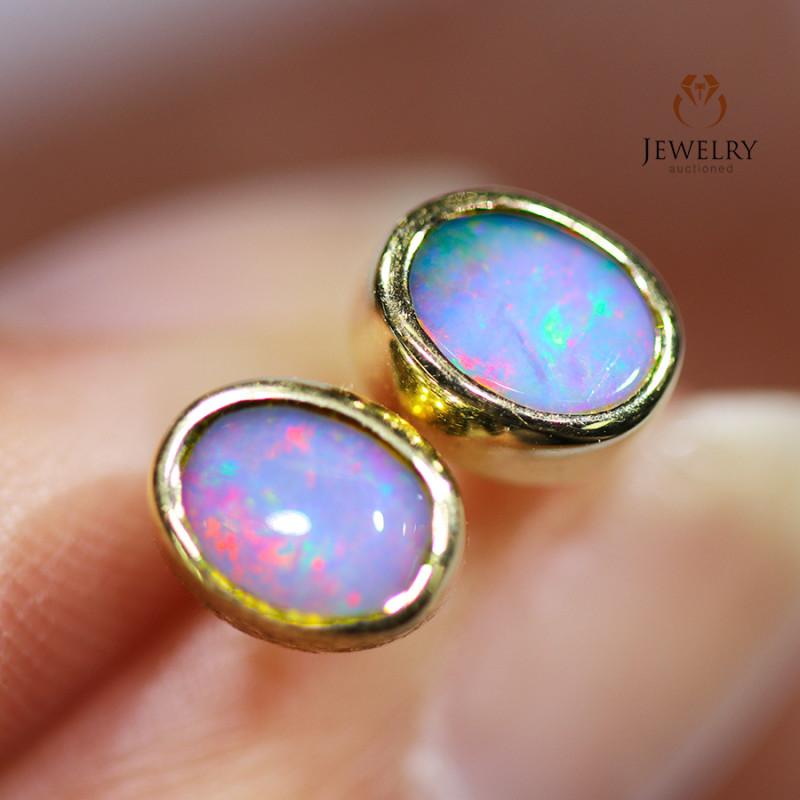 Modern Cute Opal 18k Yellow Gold Earrings - OPJ 2440
