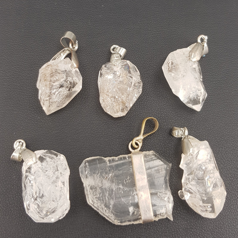 Natural Diamond Quartz Pendants .