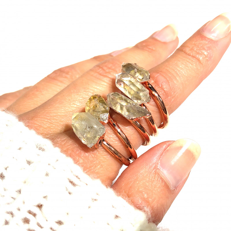 5 Raw Crystal Beautiful terminated Gemstone Copper Ring BR 376
