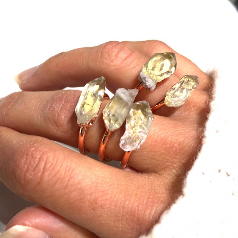 5 Raw Crystal Beautiful terminated Gemstone Copper Ring BR 377