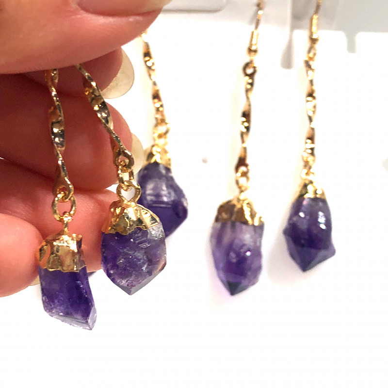 x3 Raw Amethyst Gemstone Long Drop Earrings BR 388