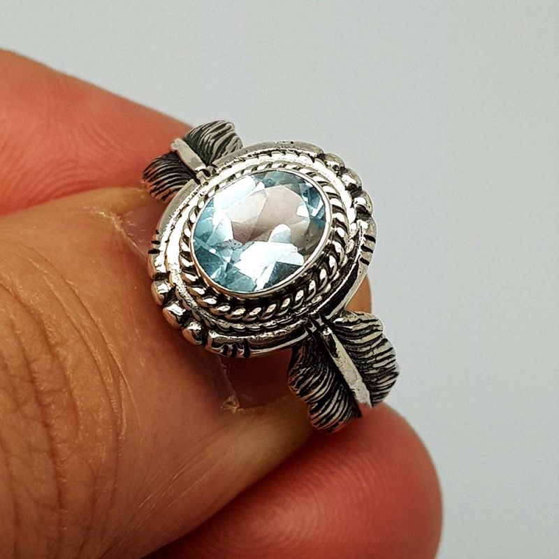 Natural Blue Topaz 19.00 Carats 925 Silver Ring