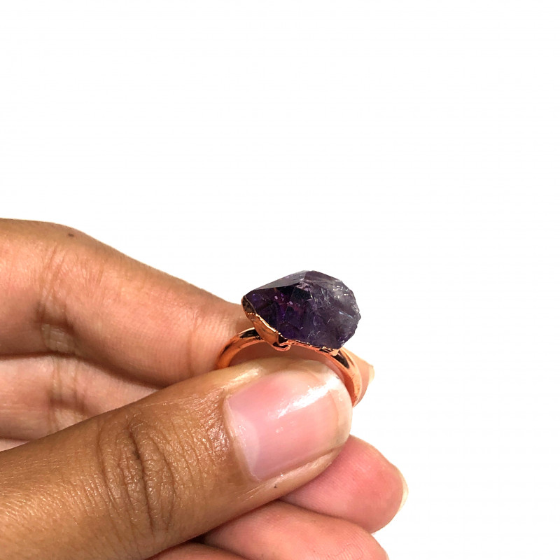 Amethyst Raw Beautiful terminated Gemstone Copper Ring BR 389