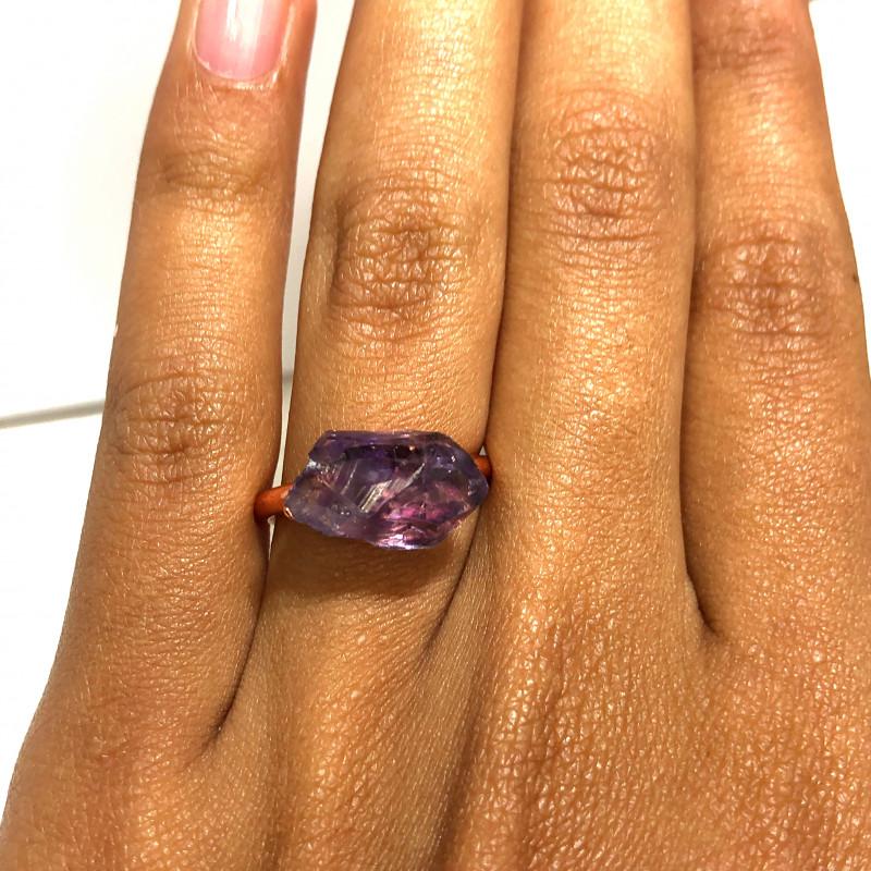 Amethyst Raw Beautiful terminated Gemstone Copper Ring BR 391