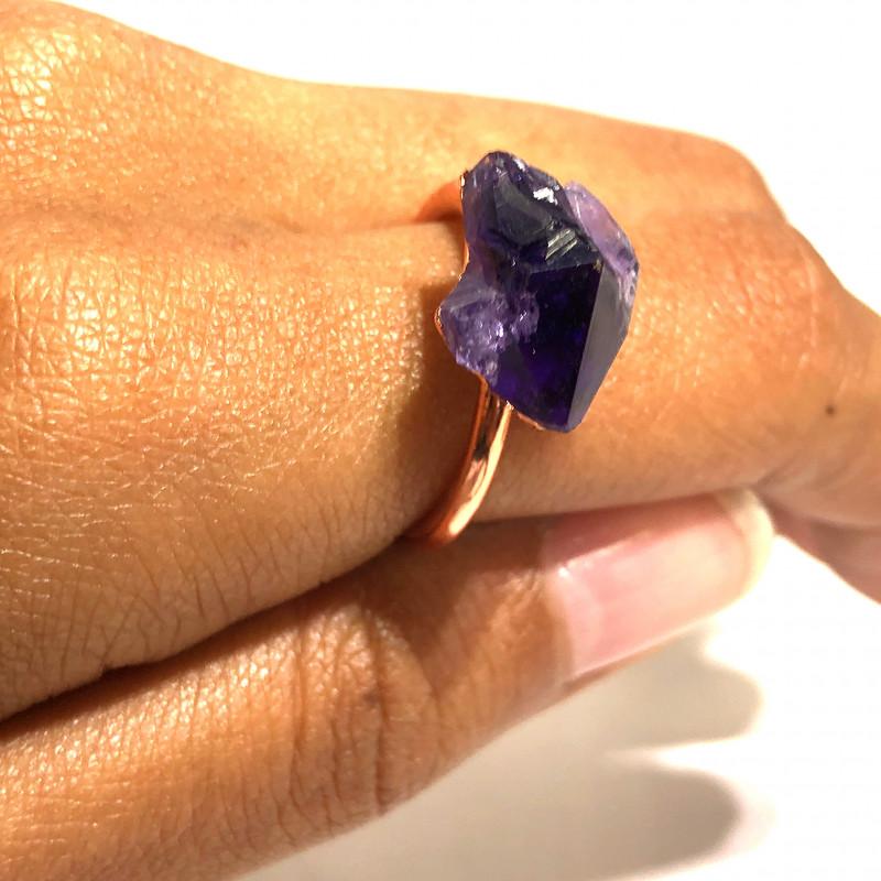 Amethyst Raw Beautiful terminated Gemstone Copper Ring BR 392